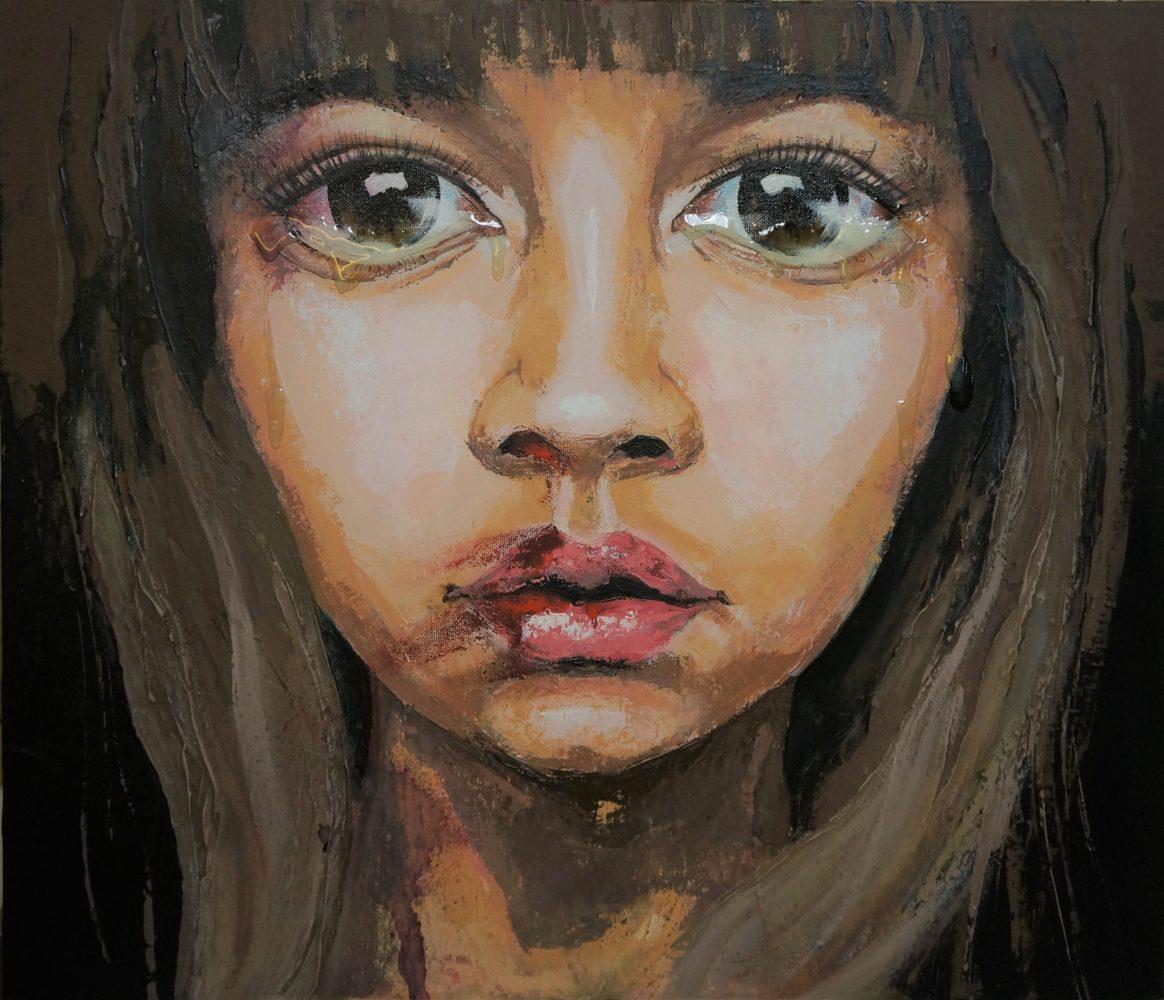 Kristina Mygul -CAN YOU HEAR MY TEARS-acrylic on canvas mixed media 70-60